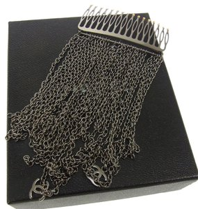 Chanel 100% AUTH CHANEL VINTAGE CC LOGOS FRINGE CHAIN ORNAMENTAL HAIRPIN SILVER R07575