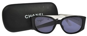 Chanel AUTHENTIC CHANEL LOGOS SUNGLASSES BLACK WHITE PLASTIC VINTAGE AK02309