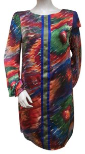 Smith Sheath Multi Color Silk Dress