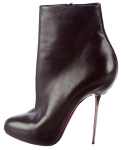 Christian Louboutin Leather Ankle Stiletto Black Boots