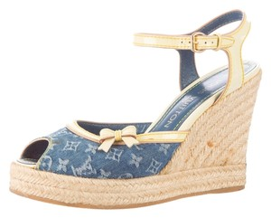 Louis Vuitton Blue Denim Print Lv Logo Monogram Beige Tan Nude Leather Jute Peep Toe Platform Hidden Platform Sandal Ankle Ankle 37.5 Blue, Beige Wedges