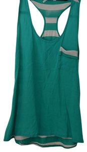 Striped Racer-back Top Jade green