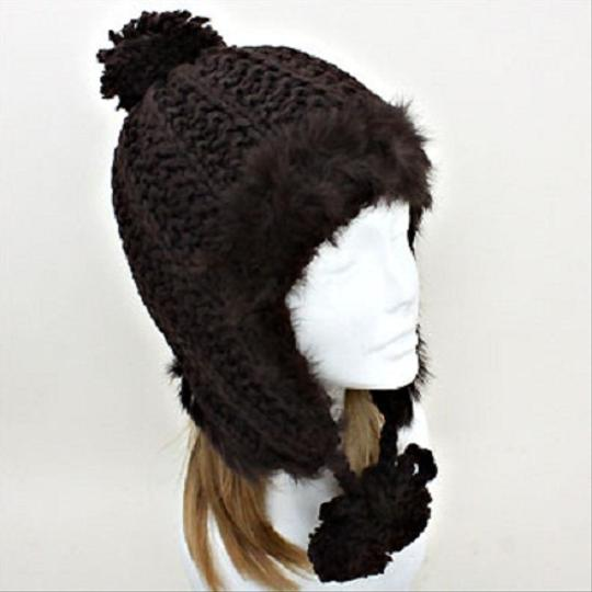 Other Lovely Warm and Chic Knitted Brown Beanie Fur Trimmed Earflap Pompom Winter Cap Hat