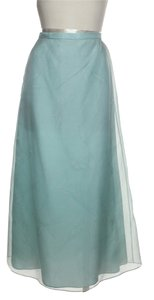 Oscar de la Renta 100% Silk A-line Formal Maxi Skirt Blue, Seaglass