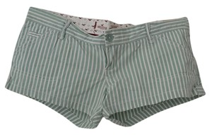 Hollister Casual Beachy Beach Mini/Short Shorts Green & white stripe