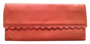 French Connection Colored Leather Magnetic Snap Closure Envelope Style Scalloped Edge Salmon Clutch