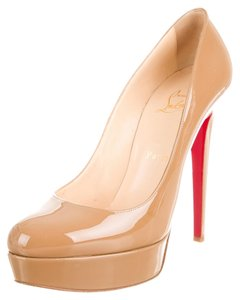 Christian Louboutin Nude Tan Patent Patent Leather Stiletto Platform Hidden Platform Pointed Toe 39.5 9.5 New Bianca Beige Pumps