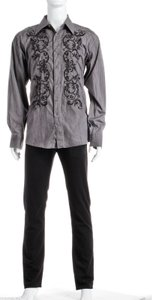 191 Unlimited Gray Embroidered Men's Shirts (size 2xl)