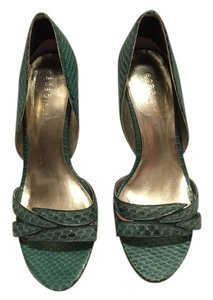 BCBGMAXAZRIA Pretty Snakeskin Green Unique Summer Spring Cute Sea Green Pumps