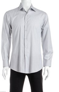 David August David August Black And White Print Men's Button Down Shirt (size 61)