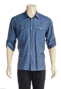 John Varvatos John Varvatos Blue Sheer Two Pocket Men's Button Down Shirt (size L)