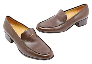 Henry Cuir Barneys Signature Beads Brown Flats