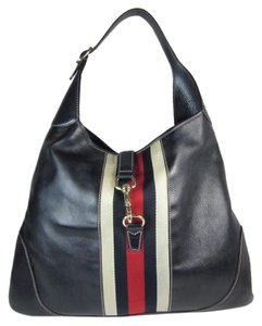 Gucci Leather Logo Hobo Navy Blue Shoulder Bag