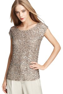 Alice + Olivia Open Back Beads Sequins Dressy Top Silver