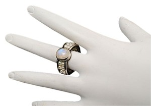 Other BARNEYS NY MOONSTONE Ring - Pearl Encrusted Band in Channel Setting - Sz. 7.5