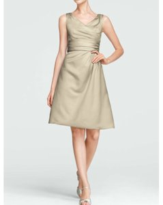 David's Bridal Beige Champagne F14823 Dress