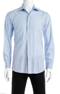 David August David August Light Blue Print Men's Shirt (size 53)