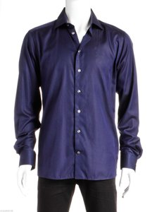 Eton Blue Long Sleeve Button Down Men's Shirt (size 42)