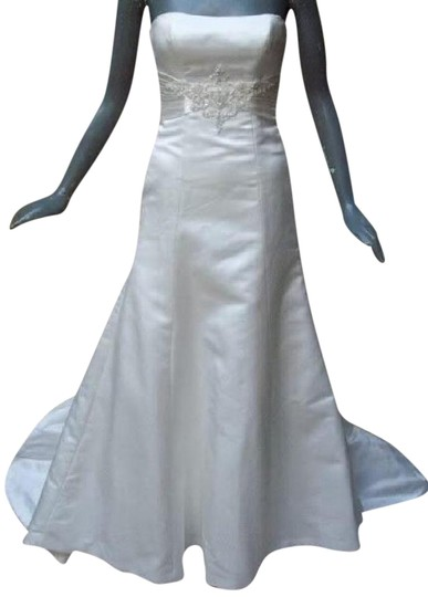 Maggie Sottero White Delustered Satin Tanica Corseted with Swarovski Chrystals Modern Wedding Dress Size 0 (XS) Image 1
