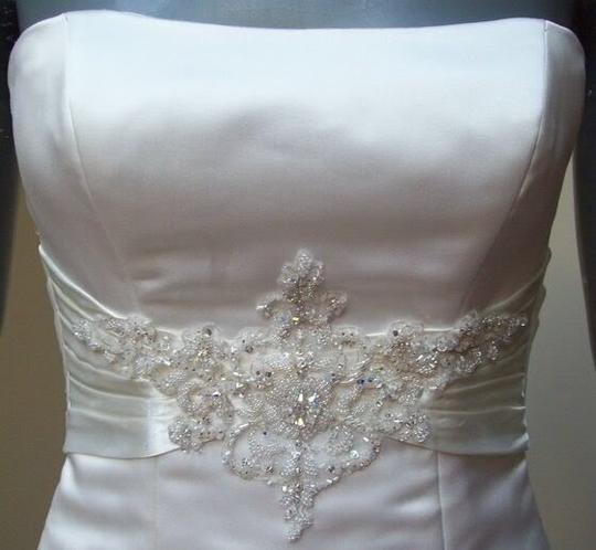 Maggie Sottero White Delustered Satin Tanica Corseted with Swarovski Chrystals Modern Wedding Dress Size 0 (XS) Image 2