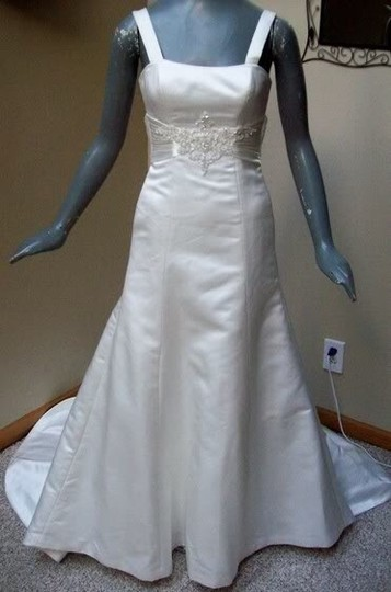 Maggie Sottero White Delustered Satin Tanica Corseted with Swarovski Chrystals Modern Wedding Dress Size 0 (XS) Image 3