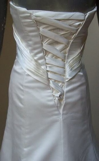 Maggie Sottero White Delustered Satin Tanica Corseted with Swarovski Chrystals Modern Wedding Dress Size 0 (XS) Image 6