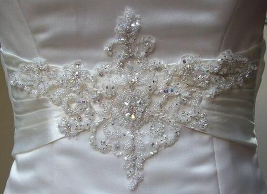 Maggie Sottero White Delustered Satin Tanica Corseted with Swarovski Chrystals Modern Wedding Dress Size 0 (XS) Image 8