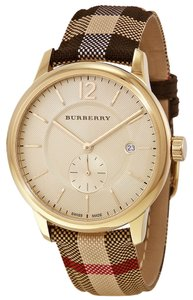 Burberry New Burberry Gold Dial Stainless Steel Textile Multi Quartz Unisex Watch