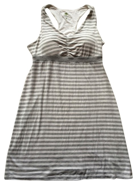 Item - White Striped Racerback Athletic Above Knee Short Casual Dress Size 8 (M)