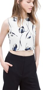 Zara Crop Floral Top White
