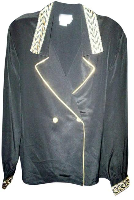Preload https://item1.tradesy.com/images/leslie-fay-black-and-gold-career-blackgold-polyester-blouse-size-10-m-10190920-0-1.jpg?width=400&height=650