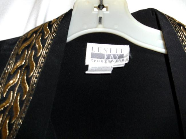 Leslie Fay Dressy Longsleeve Button Front Polyester Top Black and Gold Image 3