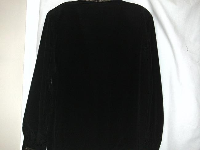 Leslie Fay Dressy Longsleeve Button Front Polyester Top Black and Gold
