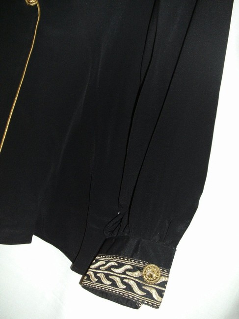Leslie Fay Dressy Longsleeve Button Front Polyester Top Black and Gold Image 5