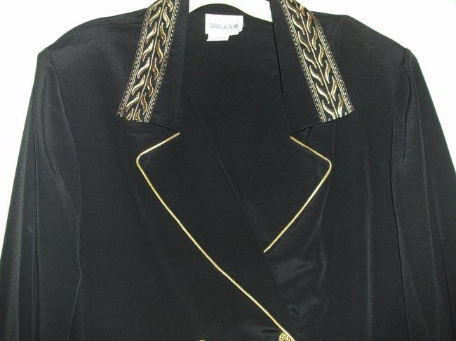 Leslie Fay Dressy Longsleeve Button Front Polyester Top Black and Gold Image 8