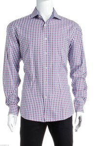 Bugatchi Bugatchi Pink Multicolor Long Sleeve Gingham Button Down Men's Shirt (size L)