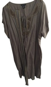 Moda International Top Brown with gold embroidered beads and thred