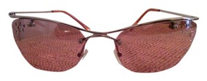 Pink Cat Eye Frameless Crystal Sunglasses