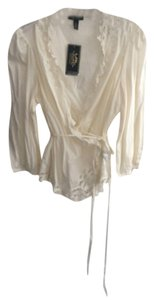 Ralph Lauren tan wrap shirt with lace trim Top
