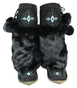 Laurentian Chief Leather Fur Tall Apres Ski Genuine Boots
