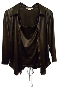 Black Shiny Leather Wet Look Lace Up Tank and Blouse Set Faux Stretch Adjustable Top