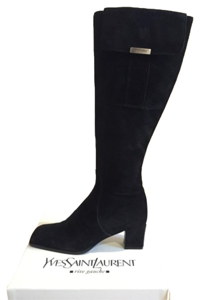 4fe8bd4b8e3 Saint Laurent Knee High Black Suede Boots Booties Size US 4.5 - Tradesy