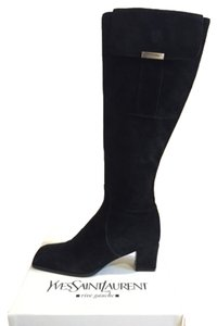 Saint Laurent Knee High Black Suede Boots
