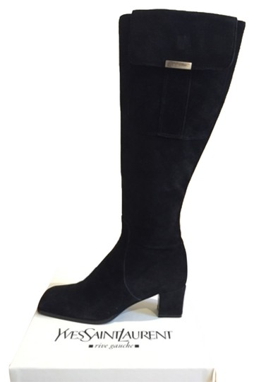 Saint Laurent Knee High Black Suede Boots Image 0