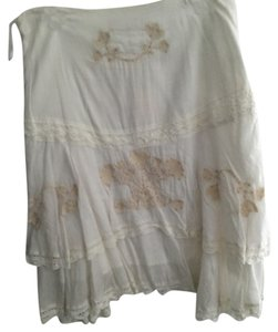 White Ruffled Embroidered Tired Beaded Skirt Skirt White