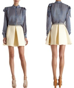 Kenzo Nylon Banded Pleated Quilted Mini Skirt Cream
