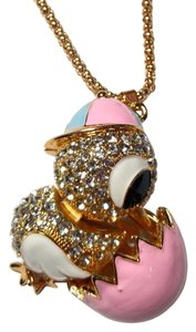 Betsey Johnson Betsey Johnson Chick in Egg Pendant Necklace Pink Gold Tone J1742