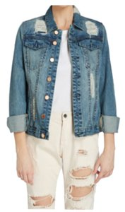BlankNYC Medium blue destressed denim Womens Jean Jacket