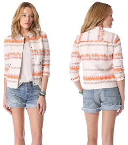 Alice + Olivia Stripes Tweed Stripe Orange, White Jacket