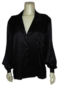 VOGUE ALLEY P674 Long Sleeves Dress Blouse Shirt Silk Button Down Shirt BLACK